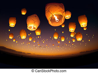 Flying Chinese Lanterns - A large group of chinese flying...