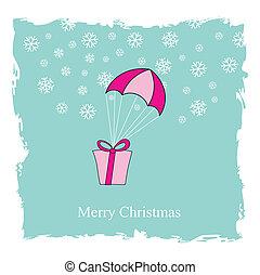 Flying Christmas box on blue