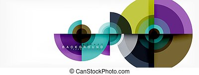 Flying circles geometric abstract background