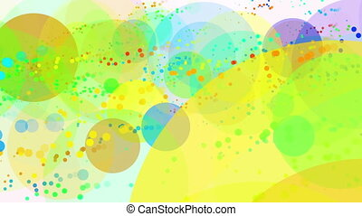 Flying circles in various colors on white