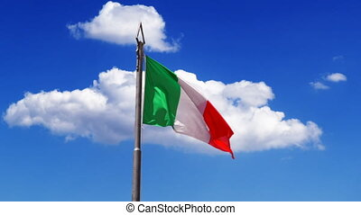 Flying clouds and waving Flag of Italy