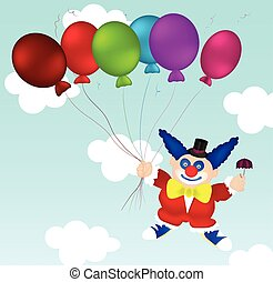 Flying clown in red clothes, blue boots with small umbrella in one hand and six balloons