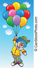 Flying clown with cartoon balloons - vector illustration.