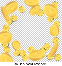 Flying coins on transparent background. Vector illustration.