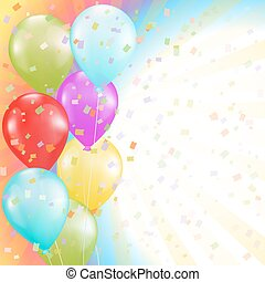 flying colorful balloons and confetti background. birthday or other holiday theme. vector illustration