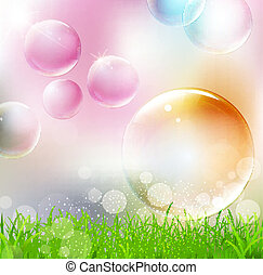 flying colorful bubbles