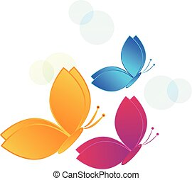 Flying colorful butterflies vector