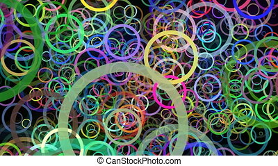 Flying colorful rings