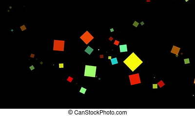 Flying colorful squares on black background