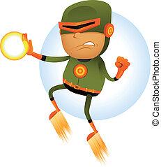 Flying Comic Superhero