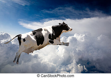 Flying Cow - A super cow flying over clouds