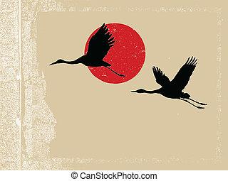 flying crane on grunge background, vector illustration