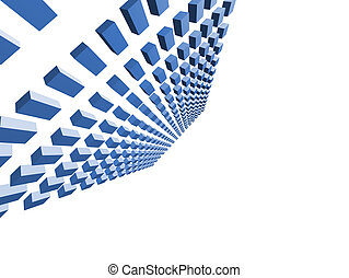 3d rendered illustration from a background of flying blue cubes