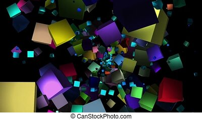 Flying cubes in various colors