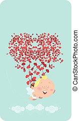 Cute flying cupid, losing his back of heart arrows in the sky, who themselves are forming a heart. Great for Valentine's Day card, post card, e-card, prints or ads.