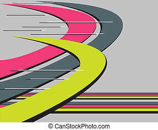 Curved flying shapes are featured in an abstract vector illustration.