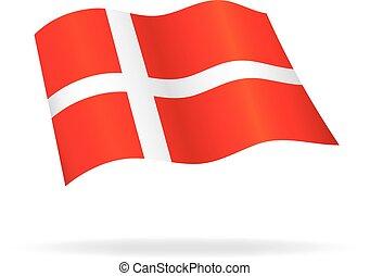 flying danish flag denmark silk vector