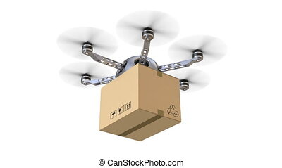 Flying delivery drone seamlessly loopable - 3D animation...