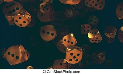Flying dice in gold color