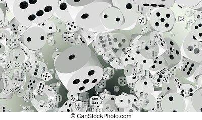 Flying dice in white