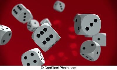 Flying dices in white on red