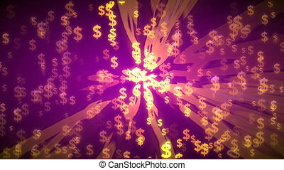 Flying dollar symbols. 3D rendering - Flying dollar symbols-...