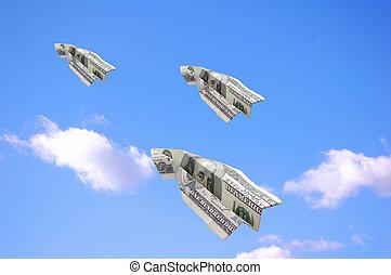 Flying dollars - One hundred dollar bank notes in flight