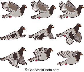 Flying Dove Animation Sprite - Vector Illustration of Flying...