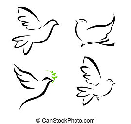 flying dove - illustration of flying dove