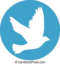 Flying dove for peace concept and wedding design. white on a blue background.