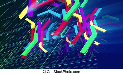 """Flying down colorful zigzag techno bars"" - ""Wonderful 3d..."