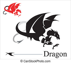 Attacking Dragon. Black Dragon. suitable for team mascot, community icon, emblem, product identity, illustration for clothing, etc.