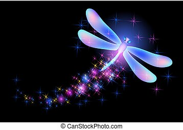Flying dragonfly with sparkle and blazing trail