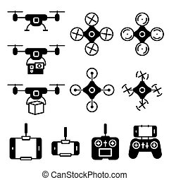 Flying drone flat icons on white background. Quadcopter sings isolated set.