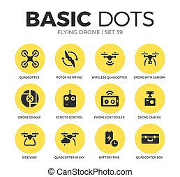 Flying drone flat icons vector set