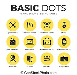 Flying drone flat icons vector set - Flying drone flat icons...