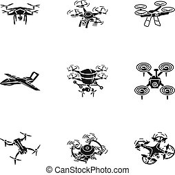 Flying drone icon set, simple style