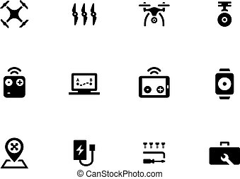 Flying drone icons on white background.