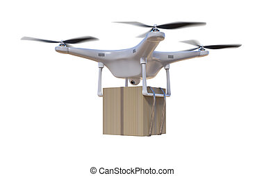 Flying drone is delivering a package. Isolated on white backgrou