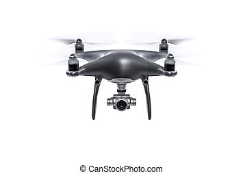 Flying drone isolated on a white background.