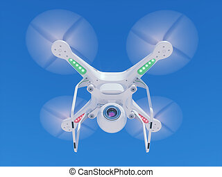 Flying drone with a video camera in the sky