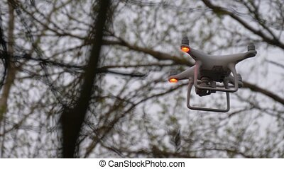 Flying drone with camera between branches. Uav drone copter ...
