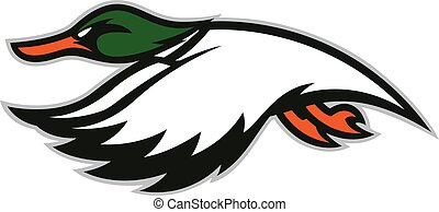 Flying duck mascot - Clipart picture of a flying duck...