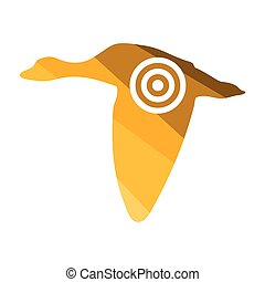 Flying duck  silhouette with target  icon