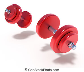 Flying Dumbbells on the white