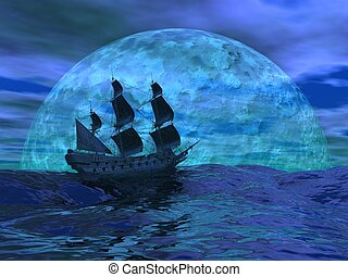Flying dutchman boat floating on the ocean in front of a very big full moon by night