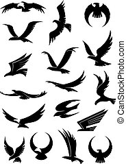 Flying eagle, falcon and hawk vector icons