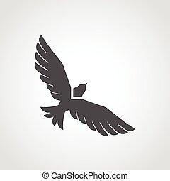 Flying Eagle Icon - Flying eagle black silhouette flat icon...
