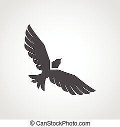 Flying Eagle Icon - Flying eagle black silhouette flat icon ...