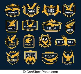 Flying eagle icons, heraldic symbols